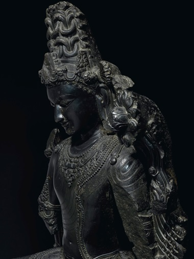 Carved in exceptional detail, the black stone — identified as schist — is familiar to the region of West Bengal and Bangladesh and could easily be mistaken for polished onyx or bronze