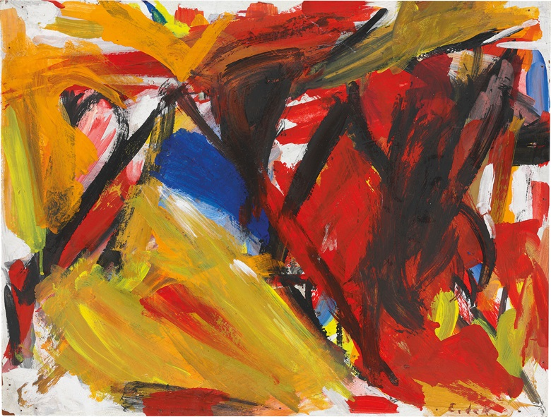 Elaine de Kooning (1918-1989), Bull Abstraction, 1959. Oil on panel, 18⅛ x 24½ in (46 x 62.2 cm). Estimate $10,000-15,000. This work is offered in Post-War and Contemporary Art on 3 March at Christies in New York