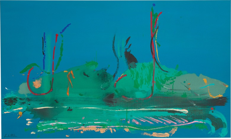 Helen Frankenthaler (1928-2011), Regatta, 1986. Acrylic on canvas, 38¼ x 63⅝ in (97.2 x 161.6 cm). Estimate $300,000-500,000. This work is offered in Post-War and Contemporary Art on 3 March at Christie's in New York
