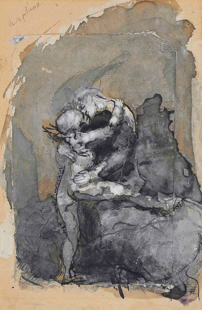 Auguste Rodin (1840-1917), Centauresse dit le sphinx, circa 1880. Gouache and wash, pen and ink and graphite on two overlapping sheets of paper, the top sheet 5⅞ x 3¾ in (14.9 x 9.5 cm), the bottom sheet 7⅝ x 5 in (19.4 x 12.6 cm). Estimate £20,000-30,000. This lot is offered in Impressionist and Modern Works on Paper on 1 March 2017 at Christie's in London, King Street