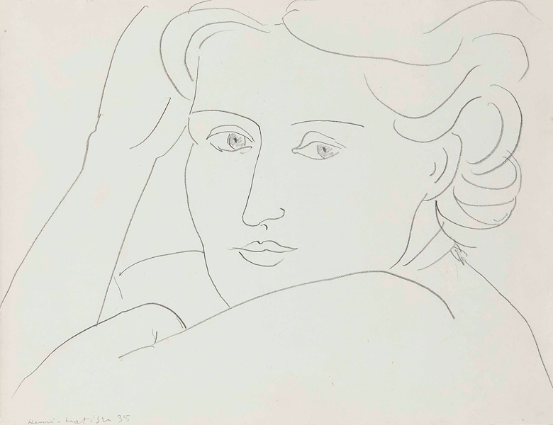 Henri Matisse (1869-1954), Tête de femme, 1935. Pencil on paper, 9⅞ x 12¾ in (24.9 x 32.3 cm). Estimate £25,000-35,000. This lot is offered in Impressionist and Modern Works on Paper on 1 March 2017 at Christie's in London, King Street