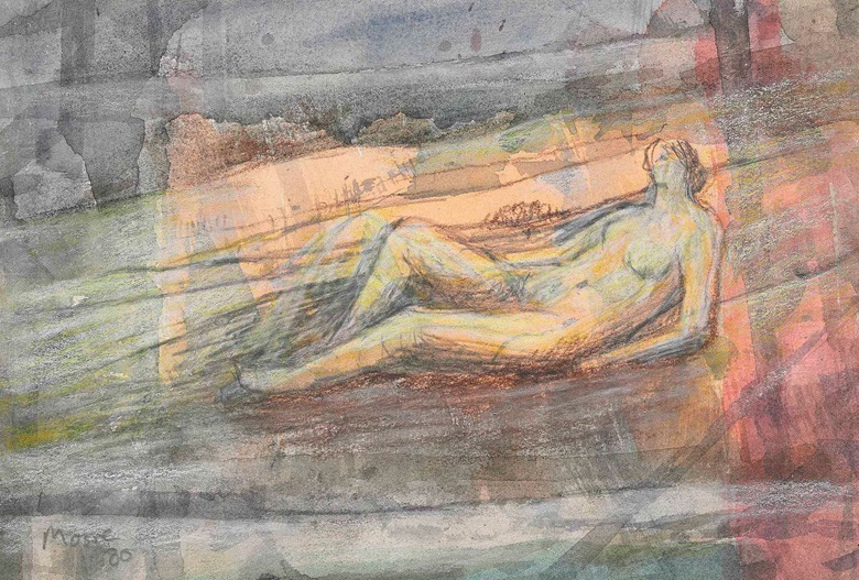 Henry Moore (1898-1986), Reclining Nude in Landscape, 1980. Watercolour wash, pastel, conté crayon and chalk on paper, 6⅞ x 10 in (17.5 x 25.5 cm). Estimate £15,000-20,000. This lot is offered in Impressionist and Modern Works on Paper on 1 March 2017 at Christie's in London, King Street