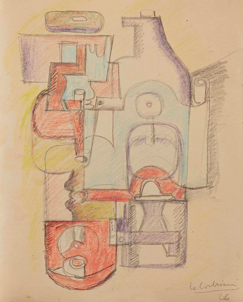 Le Corbusier (1887-1965), Nature Morte,1926. Coloured crayons and pencil on paper, 10⅝ x 8¼ in (27 x 21 cm). Estimate £30,000-50,000. This lot is offered in Impressionist and Modern Works on Paper on 1 March 2017 at Christie's in London, King Street