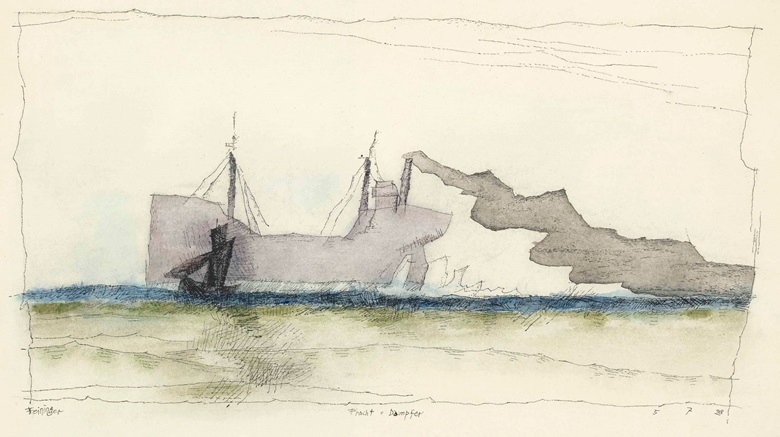 Lyonel Feininger (1871-1956), Fracht – Dampfer, 1928. Watercolour, pen and ink on paper, 11¼ x 18¼ in (28.8 x 46.6 cm). Estimate £15,000-20,000. This lot is offered in Impressionist and Modern Works on Paper on 1 March 2017 at Christie's in London, King Street