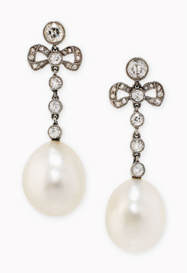 A pair of Belle Epoque natural pearl and diamond ear pendants. Sold for £60,000 on 30 November 2016 at Christie's London