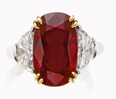 A ruby and diamond ring. 7.19 carats, Burma. Heated. Sold for $317,000 on 10 November 2015 at Christie's in Geneva