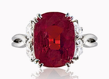 A ruby and diamond ring. 7.77 carats, Burma. Unheated. Sold for $1,760,000 on 15 November 2016 at Christie's in Geneva