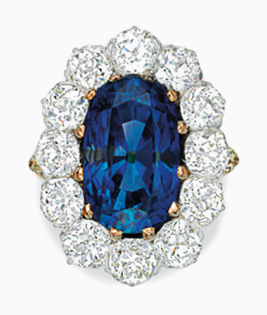 A sapphire and diamond ring. 10.27 carats, Sri Lanka. Sold for $50,000 on 18 September 2016 at Christie's in New York