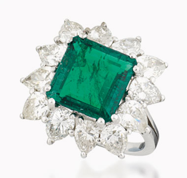 An emerald and diamond ring. 4.06 carats, Colombia. Significant clarity enhancement. Sold for £13,750 on 2 December 2015 at Christie's London