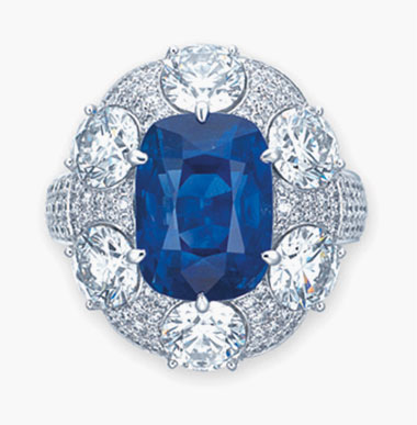 A sapphire and diamond ring, by Gübelin. 10.50 carats, Kashmir. Sold for $305,000 on 10 December 2015 at Christie's in New York