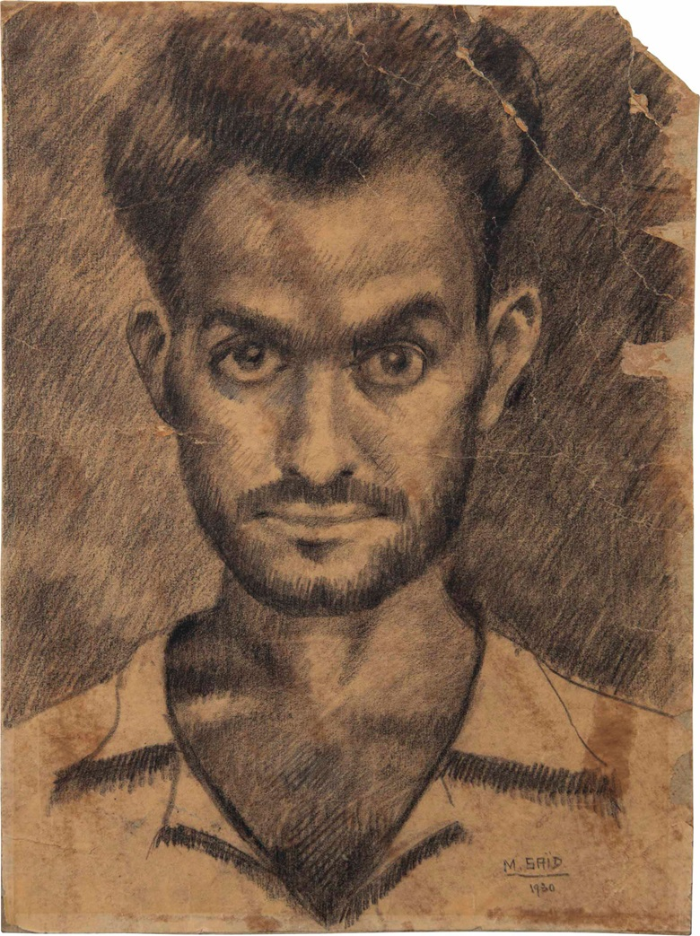 Mahmoud Saïd (Egyptian, 1897-1964), Introspection, 1930. Charcoal on paper laid down on card, 10⅝ x 8in (27 x 20.3cm). Sold for $125,000 on 18 March 2017 at Christie's in Jumeirah Emirates Towers Hotel