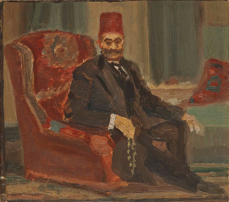 Mahmoud Saïd (Egyptian, 1897-1964), Portrait of Mohamed Pacha Saïd (esquisse), circa late 1920s. Oil on board, 8⅝ x 9⅞ in (22 x 25 cm). Estimate $25,000-30,000. Sold for $137,500 on 18 March 2017 at Christie's in Jumeirah Emirates Towers Hotel