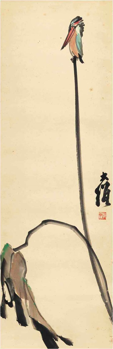 Four paintings including Guo Dawei (1909-1991), Pelican. Scroll, mounted for framing, ink and colour on paper. 35⅝ x 11⅞ in (90.6 x 30.1 cm). Estimate $1,800-6,800. This lot is offered in Fine Chinese Paintings on 14 March 2017 at Christie's in New York, Rockefeller Center