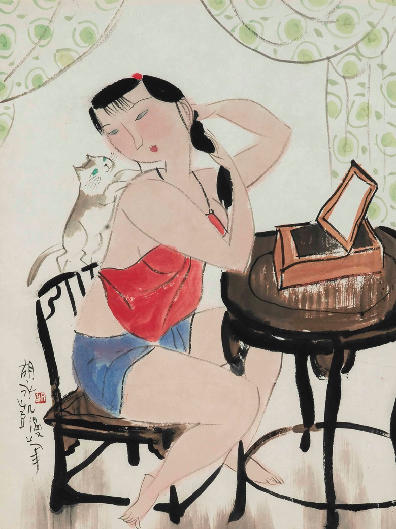 Hu Yongkai (Born 1945), Lady and Cat. Scroll, mounted and framed, ink and colour on paper. 19½ x 14⅝ in (49.6 x 37.2 cm). Estimate $2,000-4,000. This lot is offered in Fine Chinese Paintings on 14 March 2017 at Christie's in New York, Rockefeller Center