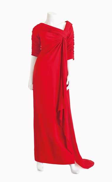 Christian Dior couture red crepe gown. Estimate $2,000-4,000. This lot is offered in Betsy Bloomingdale A Life in Style Online Auction, 30 March – 6 April
