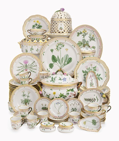 A Royal Copenhagen 'Flora Danica' part porcelain table service. 20th century, blue triple wave mark, pattern no. 20. Estimate $30,000-50,000. This lot is offered in Betsy Bloomingdale A Life in Style on 5 April at Christie's in New York