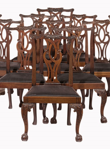 The William Haines Designed Dining Room In Betsy Bloomingdales Home Holmby Hills California A Set Of 14 George II Mahogany Chairs