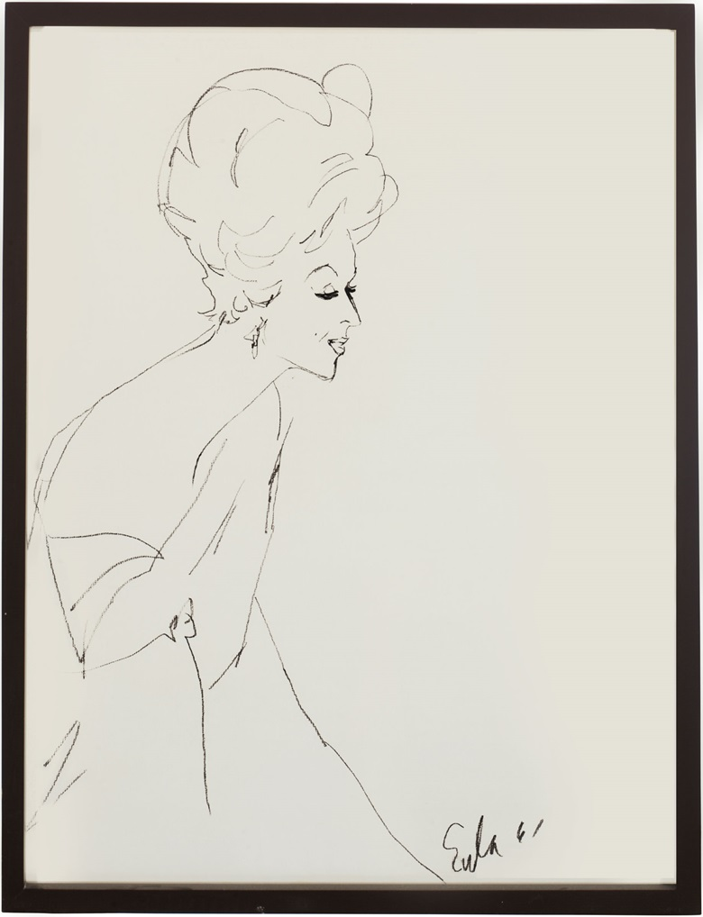 Joe Eula (American, 1925-2004), Sketches of Mrs. Bloomingdale (three works). Estimate $500-1,000. This lot is offered in Betsy Bloomingdale A Life in Style Online Auction, 30 March – 6 April