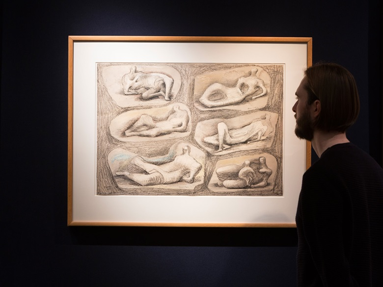 Henry Moore (1898-1986), Reclining figures, 1943. Pencil, charcoal, wax crayons, pen and ink and wash on paper, 18 x 25½ in (45.6 x 64.7 cm). This work was offered in Impressionist and Modern Works on Paper on 1 March 2017 at Christie's in London and sold for £281,000