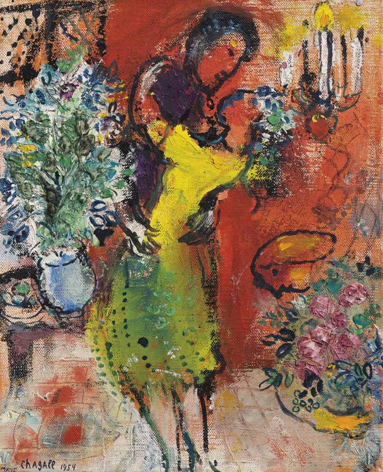 Marc Chagall (1887-1985), Couple au chandelier, 1954. Oil on canvas. 10⅝ x 8⅝ in (27 x 22 cm). This work was offered in the Impressionist & Modern Art Day Sale on 1 March at Christie's London and sold for £605,000