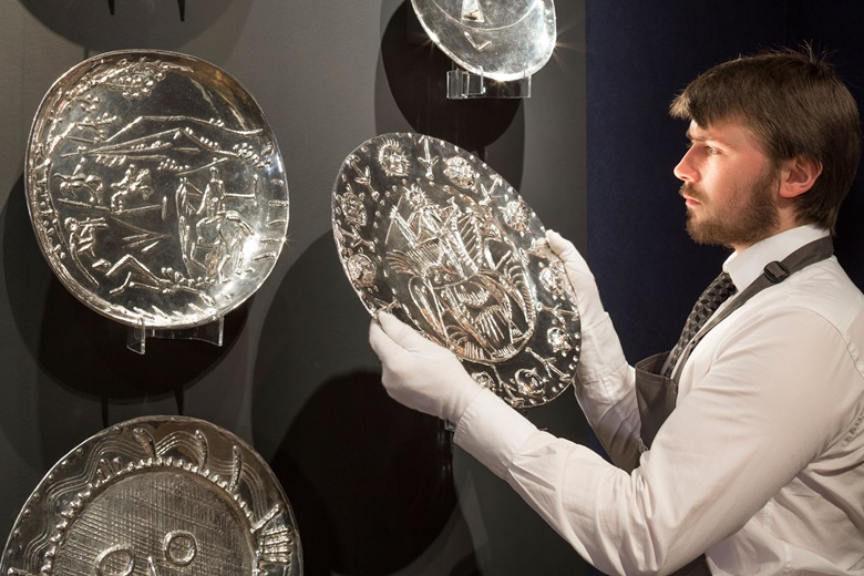 Pablo Picasso (1881-1973), works from 'A Complete Set of 19 Silver Plates', conceived by Picasso in ceramic in 1956. This lot was offered in the Impressionist & Modern Art Evening Sale on 28 February at Christie's in London and sold for £1,265,000