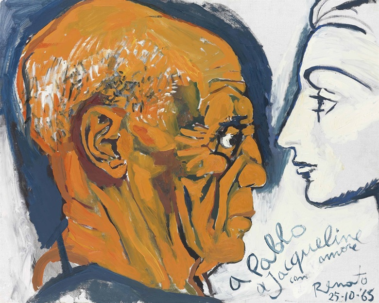 Renato Guttuso (1912-1987), Jacqueline e Picasso, 1965. Oil on canvas. 25⅝ x 32 in (65 x 81 cm). This work was offered in the Impressionist and Modern Art Day Sale on 1 March at Christie's London