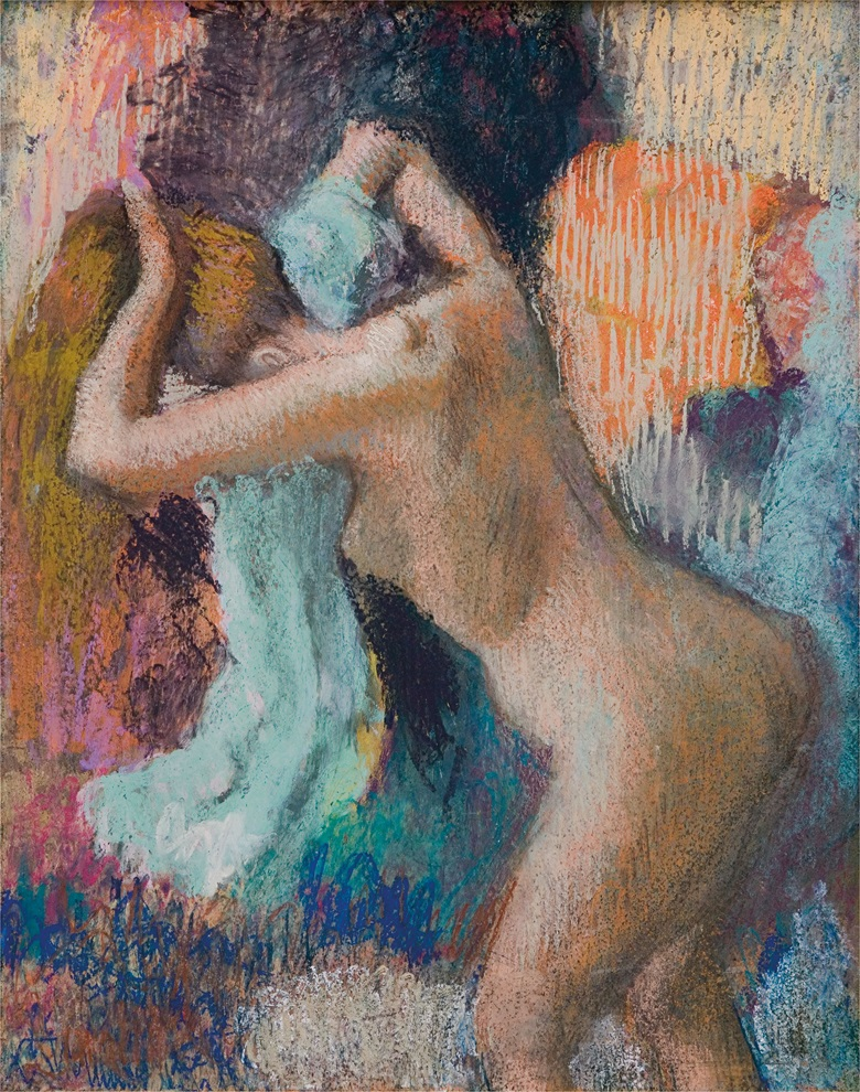 Edgar Degas (1834-1917), Après le bain, femme sessuyant, c. 1890-1895. Pastel on paper laid down on board. 27⅛ x 21½ in (68.9 x 54.6 cm). Sold for $5,906,500 on 6 May 2009 at Christie's in New York