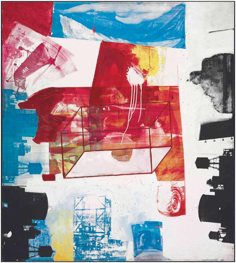 Robert Rauschenberg (1925-2008), Transom, 1963. Oil and silkscreen ink on canvas, 56 x 50 in (142.2 x 127 cm). Estimate £4,000,000-6,000,000. This lot is offered in Post War & Contemporary Art Evening Auction on 7 March 2017 at Christie's in London, King Street