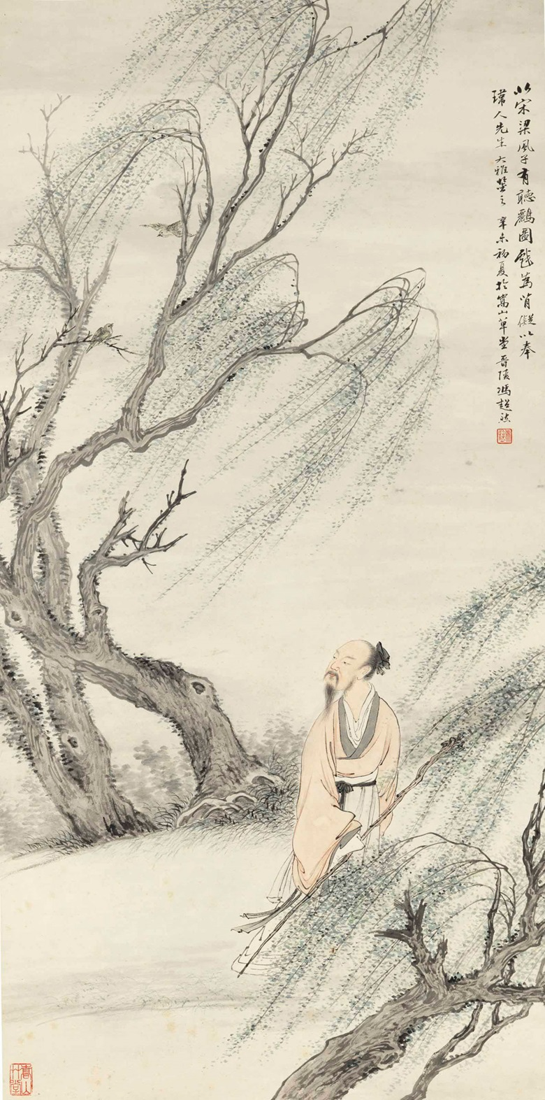 Feng Chaoran (1882-1954), Listening to an Oriole. Hanging scroll, ink and colour on paper. 41¼ x 20½ in (104.8 x 52 cm). Estimate $4,000-6,000. This lot is offered in Fine Chinese Paintings on 14 March 2017 at Christie's in New York