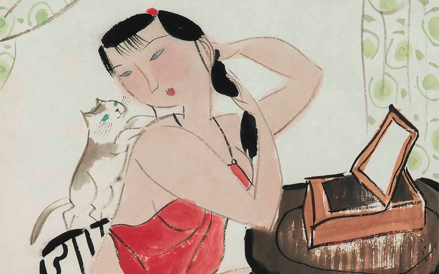 Hu Yongkai (b. 1945), Lady and Cat (detail). Scroll, mounted and framed, ink and colour on paper. 19½ x 14⅝ in (49.6 x 37.2 cm). Estimate $2,000-4,000. This lot is offered in Fine Chinese