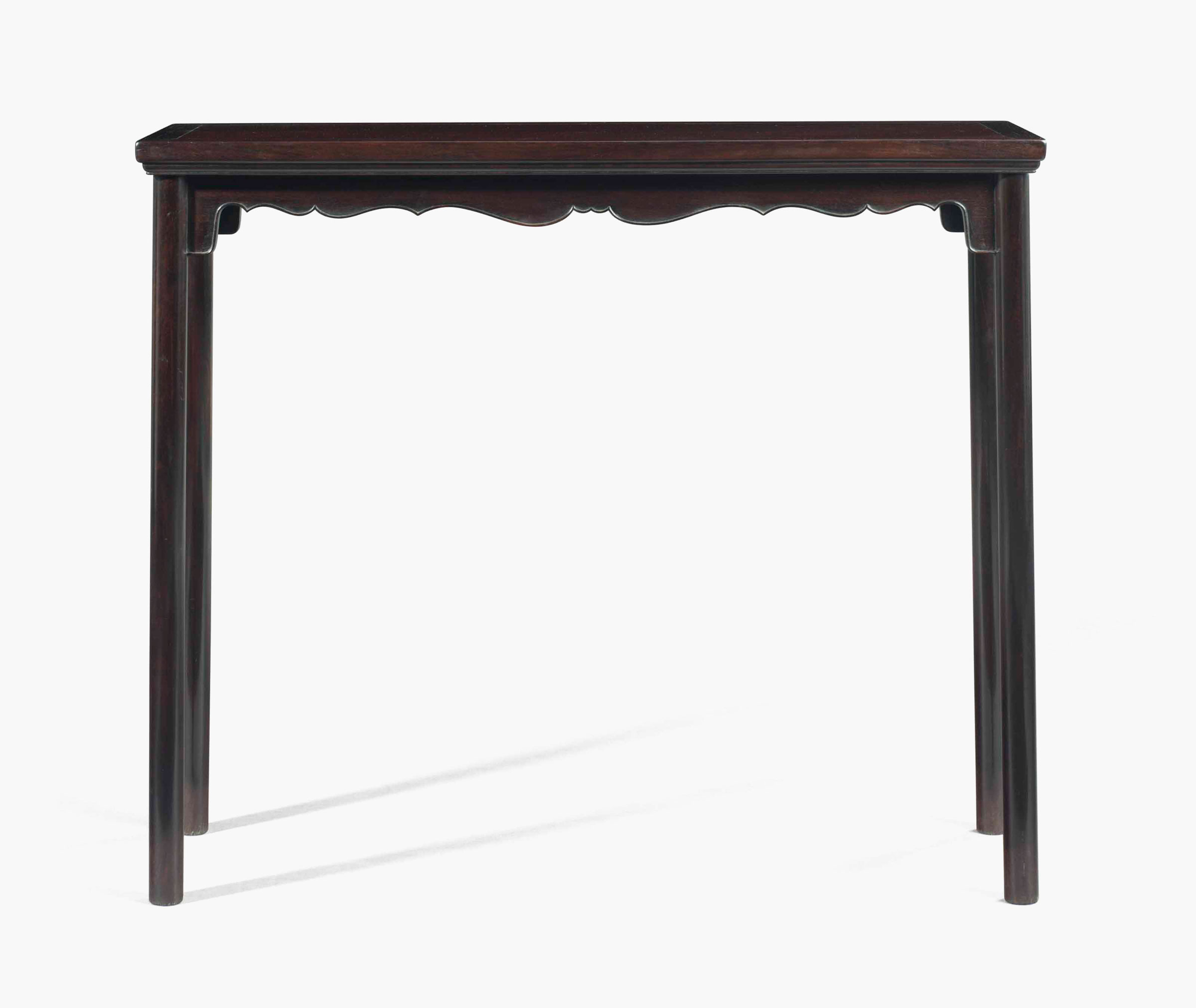 A Very Rare Narrow Zitan Side Table, Tiaozhuo. Early Qing Dynasty, 17th