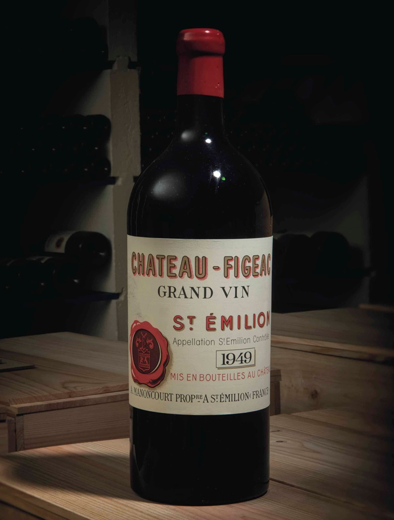 Château Figeac 1949. 1 jeroboam per lot. Estimate £3,000-5,000. This lot is offered in Fine and Rare Wine Including a superb range of vintages from the cellars of Château Figeac on 16 March 2017 at Christie's in London, King Street