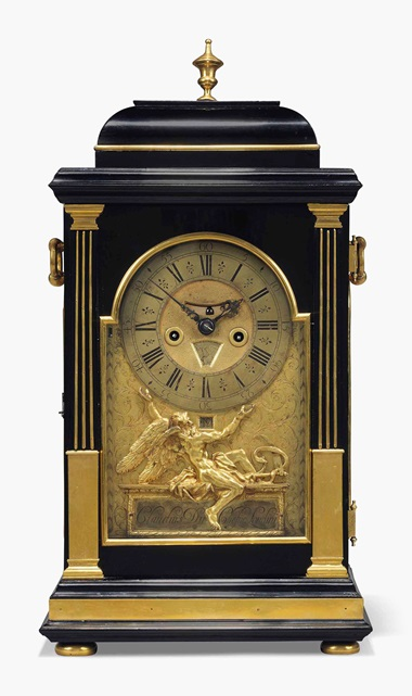 A George I ormolu-mounted ebony quarter-repeating table clock, Claude Duchesne, London, early 18th century. Estimate £4,000-6,000. This clock is offered in Robert de Balkany Rome & the Côte d'Azur on 22 and 23 March at Christie's London