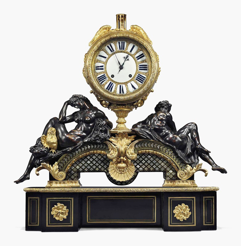 A Louis XVI Ormolu-mounted and brass, tortoiseshell and mother-of-pearl-inlaid 'Boulle' marquetry striking mantel clock — 'Le Jour et la Nuit', late-18th century, the movement signed Etienne Le Noir, after the model by André-Charles Boulle. Estimate £80,000-120,000. This clock is offered in Robert de Balkany Rome & the Côte d'Azur on 22