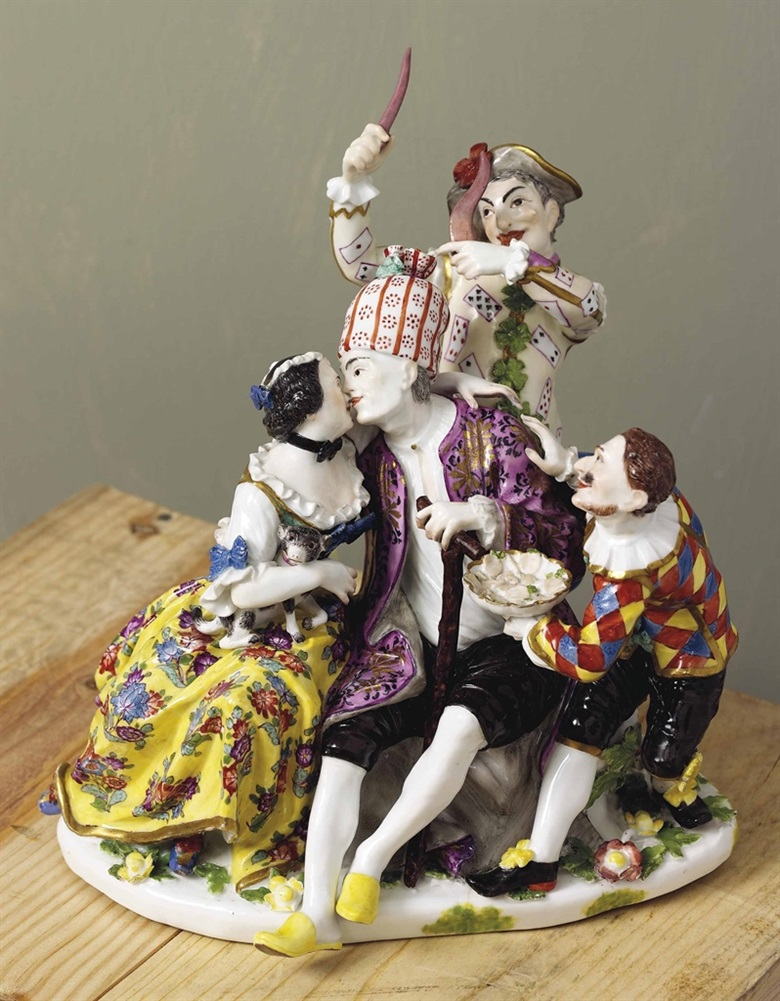 A Meissen group of The Mockery of Age. Circa 1740, indistinct blue crossed swords. 8¼ in (21 cm) high. Sold for £158,500 on 2-3 June 2015