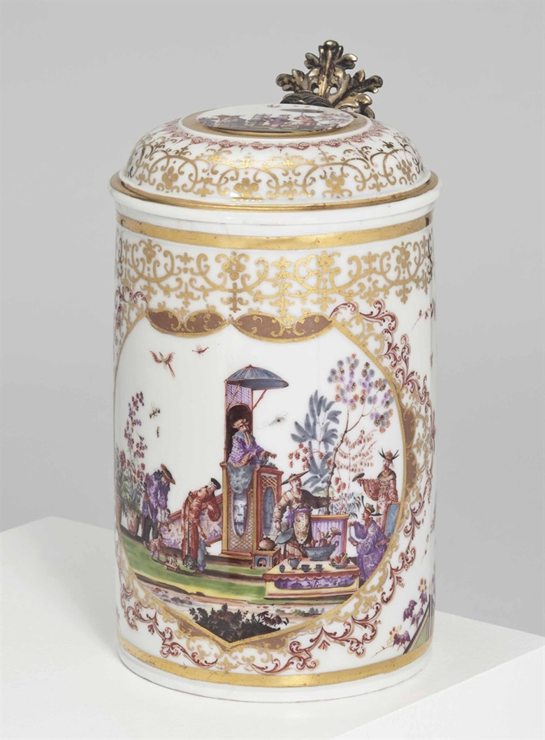A Meissen silver-gilt-mounted chinoiserie tankard and cover, circa 1725, the mounts 18th century. Sold for £206,500 on 25 November 2014