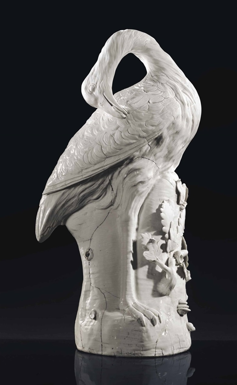 A Meissen white model of a great bustard (Otis tarda), 1732, attributed to Johann Gottlieb Kirchner, incised initials as to the underside of the beak for Andreas Schiefer. Sold for £842,500 on 7 July 2016