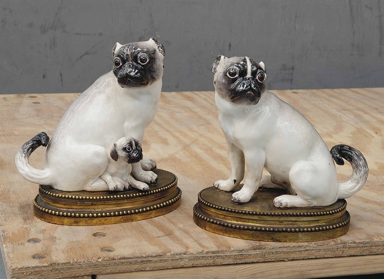 A pair of Meissen gilt-bronze-mounted models of pug-dogs. Circa 1745, the mounts 19th century. 8⅜ in (21.2 cm) high. Sold for £50,000 on 2-3 June 2015