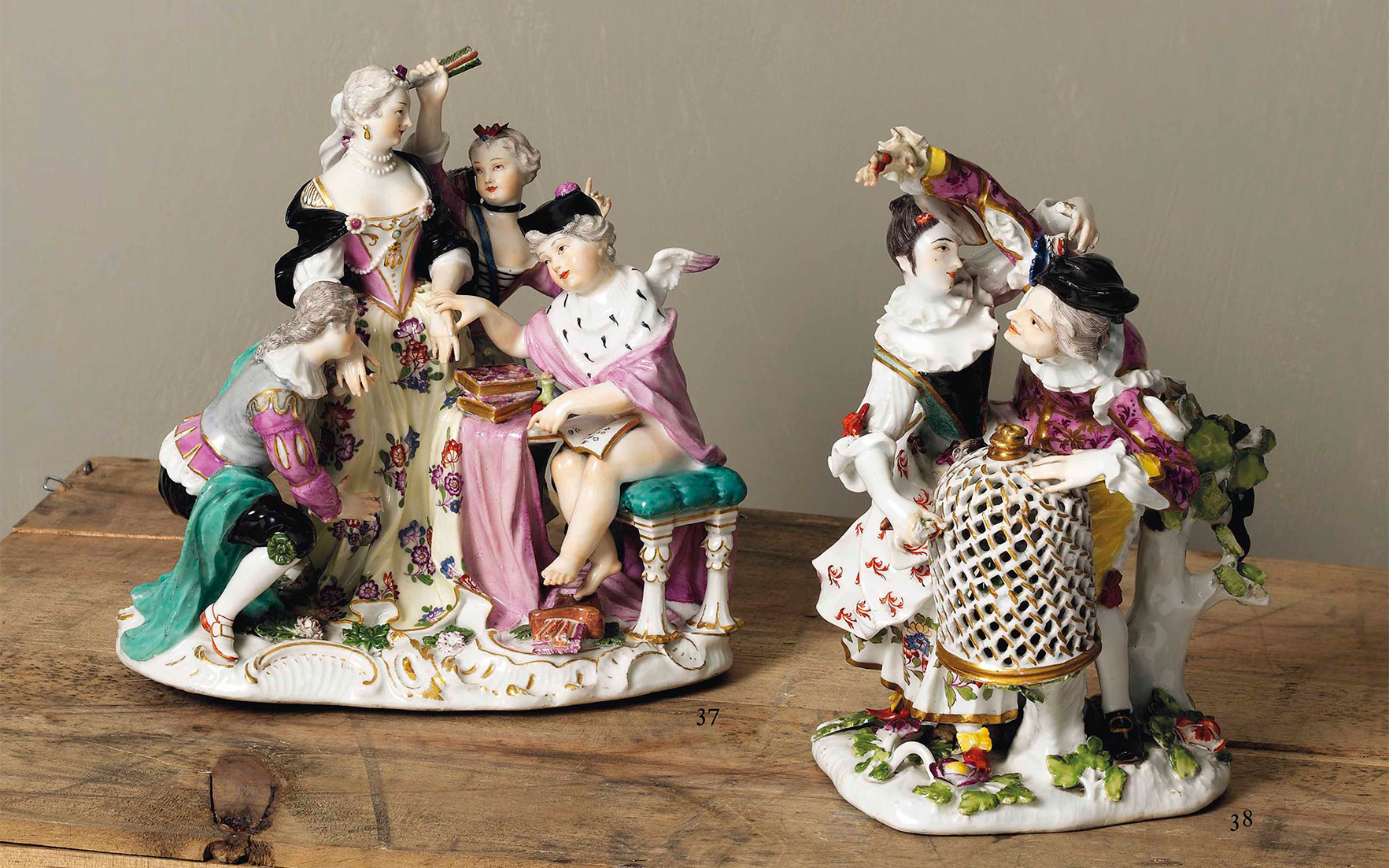 A Meissen group of Columbine and Scaramouche 'Die Hahnreigruppe', circa 1741-45. Sold for £92,500 on 2-3 June 2015        .full-screen .image-preview { background-position 50% 0%!important; } @media