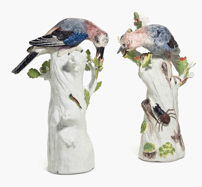 Two Meissen porcelain models of jays, circa 1740, faint blue crossed swords marks, modelled by J. J. Kändler. Sold for $137,000 on 31 March 2016
