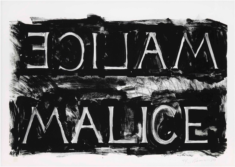 Bruce Nauman (b.  1941), Malice. Image 625 x 970 mm, sheet 750 x 1050 mm. Estimate £3,000-5,000. This lot is offered in Prints & Multiples on 29 March 2017 at Christie's in London, King Street