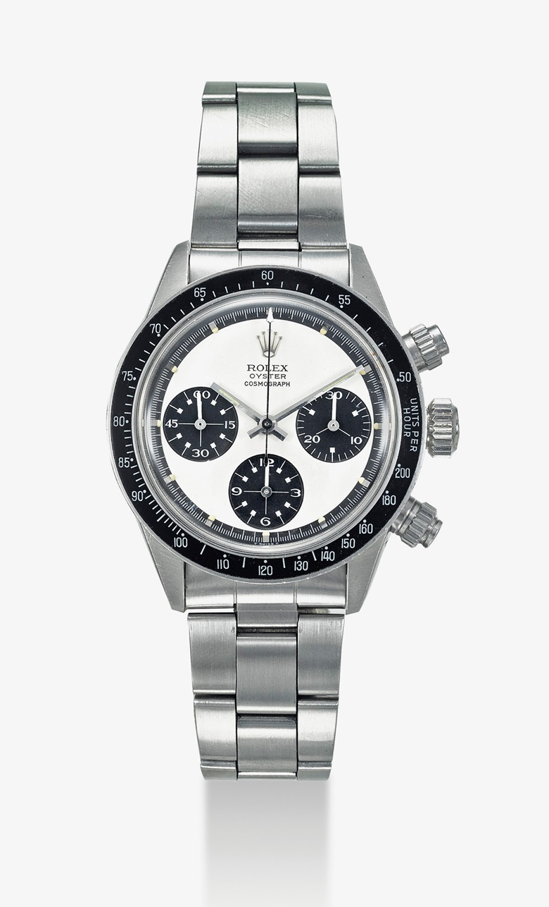 Rolex. A very rare and extremely attractive stainless steel chronograph wristwatch with Panda Paul Newman dial, bracelet, warranty and box. Signed Rolex, Oyster Cosmograph, ref. 6263, case no. 3'031'248, circa 1971. Estimate $150,000-250,000.   This lot is offered in Important Watches on 19 March 2017 at Christie's in Dubai