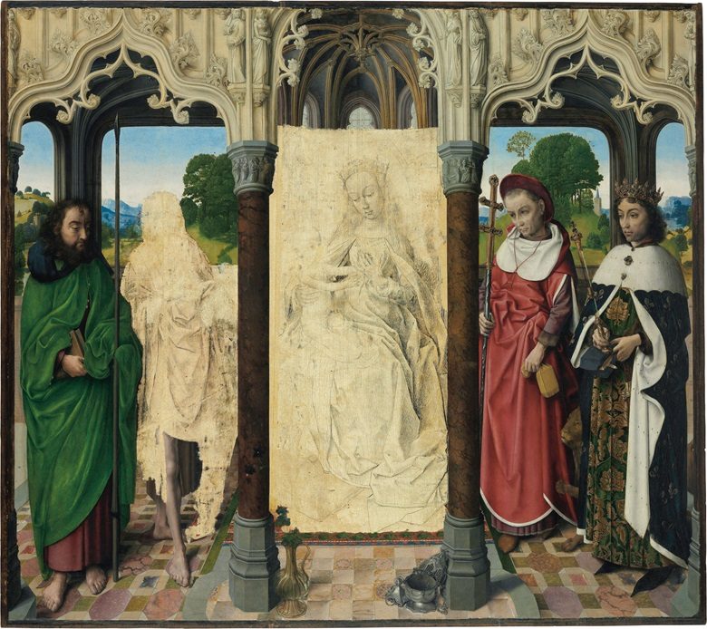Attributed to Hugo van der Goes (Ghent, c. 1440-1482 Rode Klooster, near Brussels), The Virgin and Child with Saints Thomas, John the Baptist, Jerome and Louis. Oil on panel. 43⅝ x 49¼ in (110.8 x 125.2 cm). Estimate $3,000,000-5,000,000. This work is offered in Old Masters on 27 April 2017 at Christie's in New York