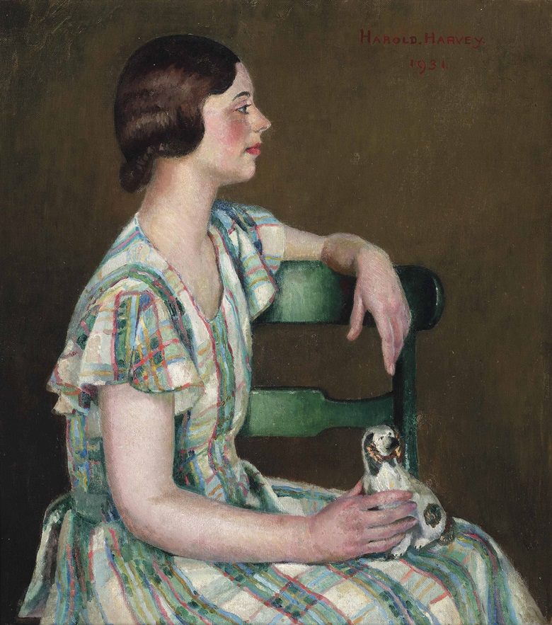 Harold C. Harvey (1874-1941), Study in Green, 1931. Oil on canvas. 20 x 18 in (50.8 x 45.7 cm). Estimate £5,000-8,000. This lot is offered in Victorian, Pre-Raphaelite & British Impressionist Art, Maritime Art, Sporting & Wildlife Art  on 22 March 2017 at Christie's in London, South Kensington