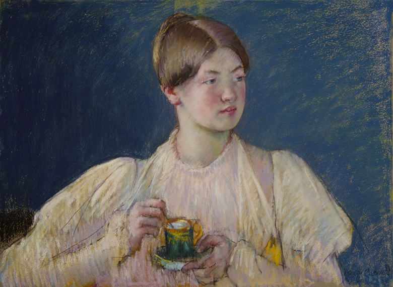 Mary Cassatt, La Tasse de Thé, 1897. Pasted on tan wove paper, mounted on canvas, stretched on a strainer, 540 x 730 mm. Offered on behalf of the Terra Foundation, Chicago. Courtesy David Tunick, Inc