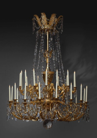 An Empire 32-branch chandelier in Bohemian crystal and ormolu, France, c. 1805. Attributed to André-Antoine Ravrio (1759-1814). Height 200 cm (78¾ in); diameter 130 cm (51¼ in). Courtesy Galerie Kugel