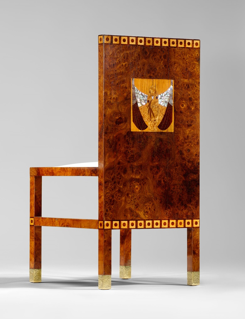 Koloman Moser, one of a pair of chairs, 1902-3. Burr elm veneer, snakewood veneer, birdseye maple veneer, mother-of-pearl and various other types of wood, commissioned for the dining room of the apartment of Dr. Hans and Gerta Eisler von Terramare. Courtesy Yves Macaux