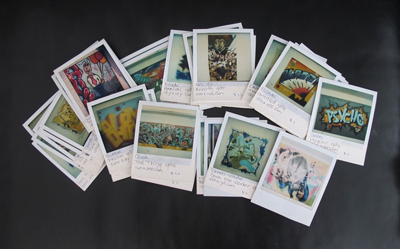 Polaroids of works from the exhibitions staged by Yaki Kornblit. Photo courtesy Aileen Middel