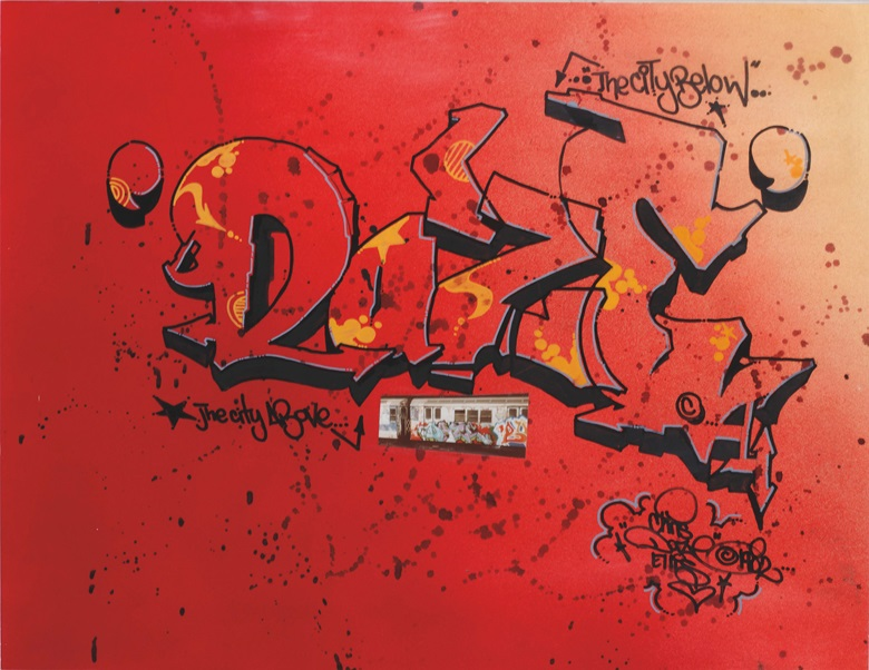 Daze (b. 1962), The City Below, The City Above, 1982. Signed and dated 'Chris 'Daze' Ellis © 1982 (lower right). Spray paint, marker, ink and collaged photograph on paper. 19⅞ x 25⅝ in (50.5 x 65 cm). Estimate $1,000-1,500. This work is offered in First Open  Online, 4-13 April