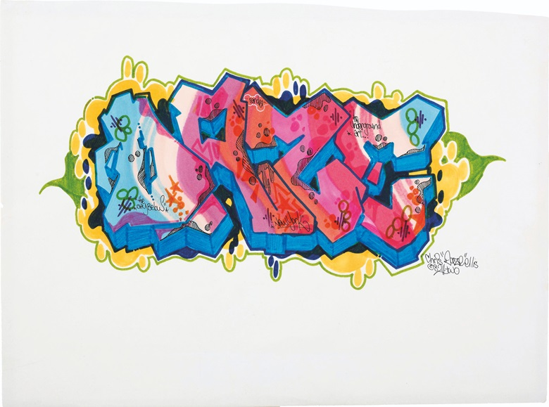 Daze (b. 1962), Untitled, 1982. Signed and dated 'Chris 'Daze' Ellis © 82.II.two' (lower right). Marker, felt-tip pen and pen on paper. 10⅜ x 14 in (26.5 x 35.5 cm). Estimate $800-1,200. This work is offered in First Open  Online, 4-13 April
